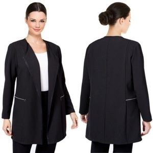 new TAHARI Open Long Jacket Zip Pocket Black 20W